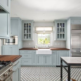 North End Boise Kitchen, concrete tile, blue cabinets, butcher block countertops