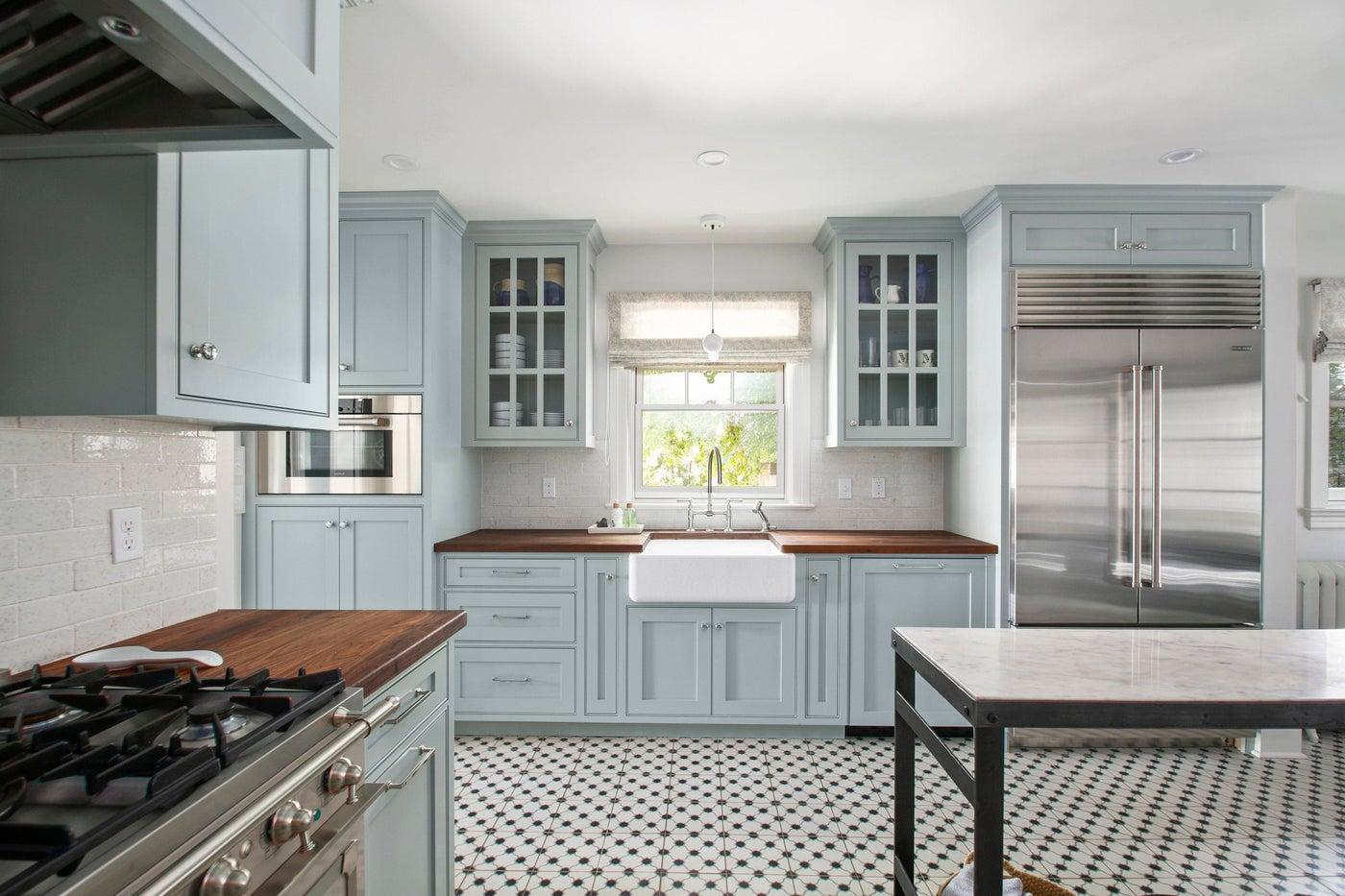 North End Boise Kitchen, concrete tile, blue cabinets, butcher block countertops