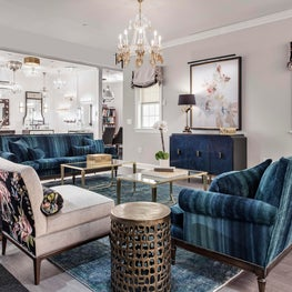 Main Line Philadelphia Showroom Design with Luxe Fabrics and Bold Color