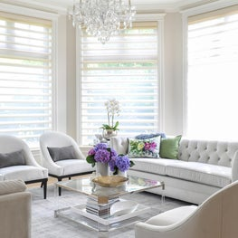 Bright living room with oversized windows