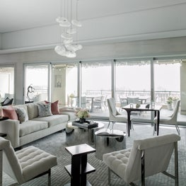 Chesapeake Residence, Living Room with Terrace and Italian Glass Chandelier