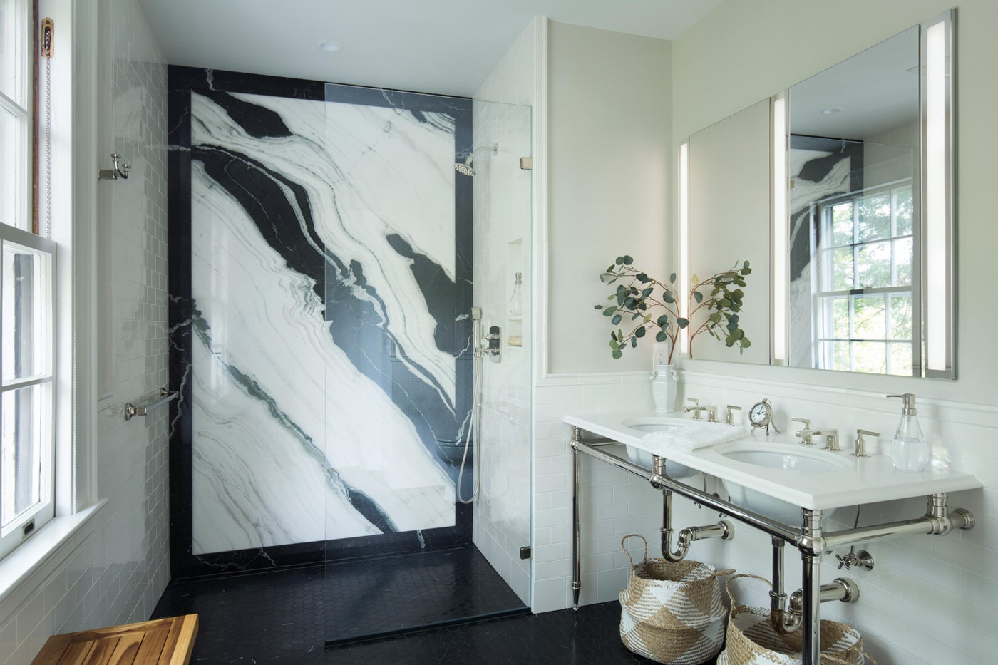 Stunning master bath with marble slab and console vanity