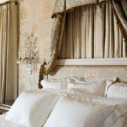 Woodside Estate Master Bedroom, Upholstered Walls, Bed Drapers, Crown Moulding