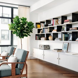 Modern Living Room Built-in Bookcase with Open Shelves and Closed Storage