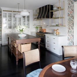 Traditional farmhouse kitchen with modern updates, floral wallpaper