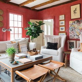 Eclectic Living Room with Red Walls