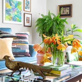 Brass Pheasant Details in Bright Eclectic Living Room