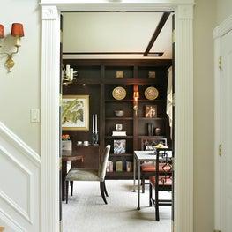Library/dining room,custom bookcases, custom ceiling design, sconces,modern art
