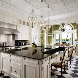 Antique marble flooring and classical cabinets.  Plaster coffered ceiling