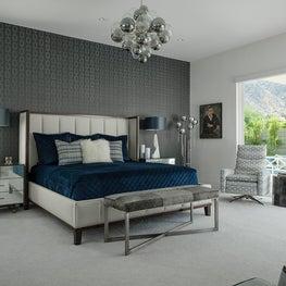 Master Bedroom with Grey Links Wallpaper