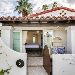 Detail of entry to private villa at La Serena Villas Hotel in Palm Springs