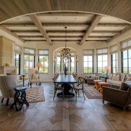 Oceanfront Keeping Room with Elliptical Arch and Reclaimed Beams