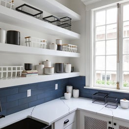 Butlers Pantry with Custom Shelves, Hidden Dog Bed, and Wallpaper Ceiling Detail
