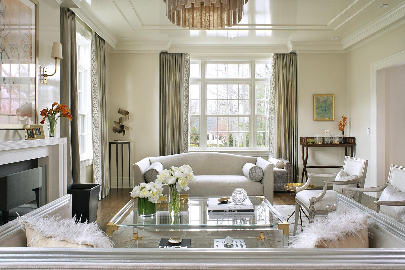Living Room with high gloss paint and gold accents