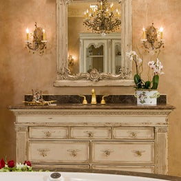 A metallic finish imparts an Old World feel to the Habersham vanity.