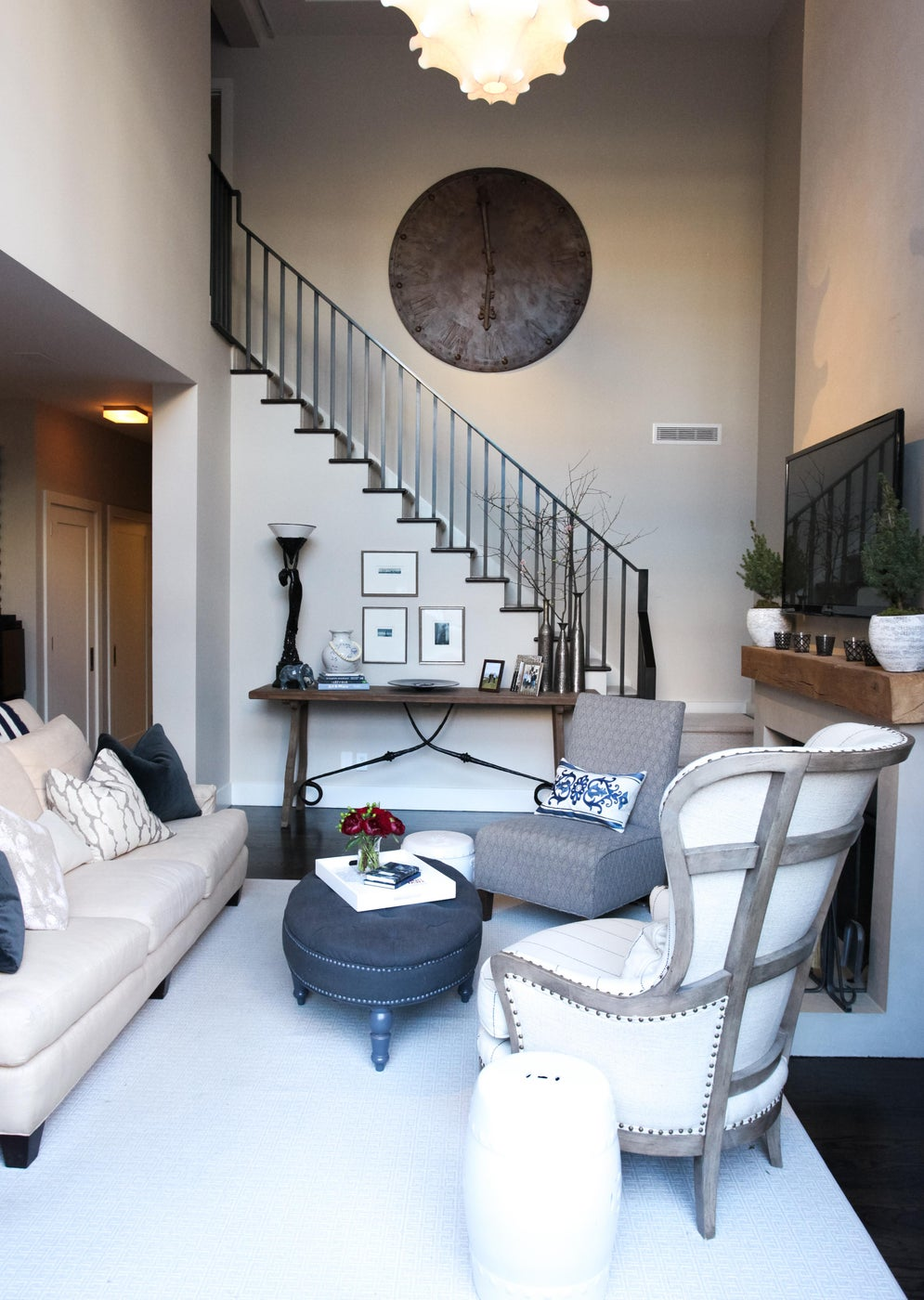 West Side Duplex Living Room with modern architectural details