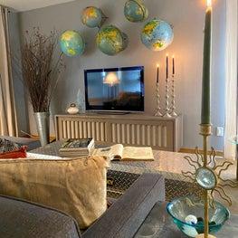 Eclectic Travel/Globe Collector's Livingroom