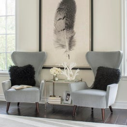 Calabasas Master Bedroom Sitting Area with Modern Wing Chairs
