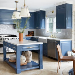 Eclectic Traditional Kitchen with Zellige Backsplash and Navy Cabinets