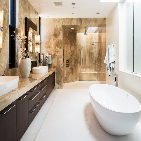 Slabs of Marble Master Bath
