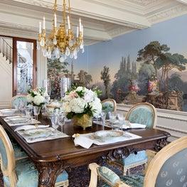 Woodside Estate Dining Room with Scenic Wallpaper Custom Moulded Details