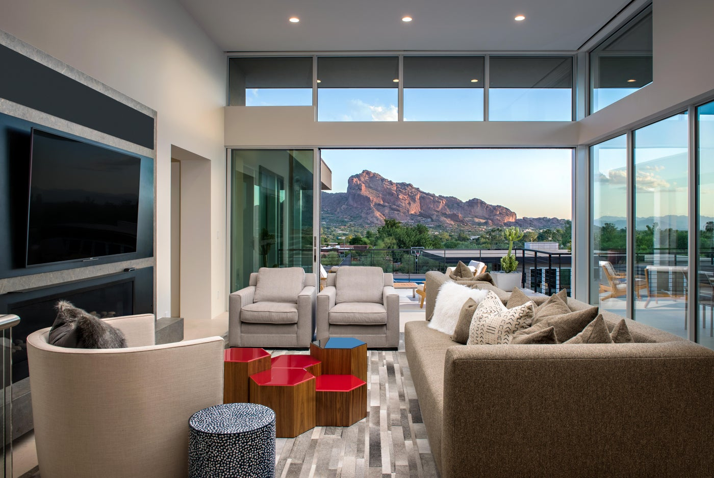 Modern Living Room with Mountain Views and Indoor/Outdoor Living