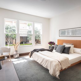 DZINE Staging - Modern Bedroom Design with View, Artwork by Carrie Ann Plank