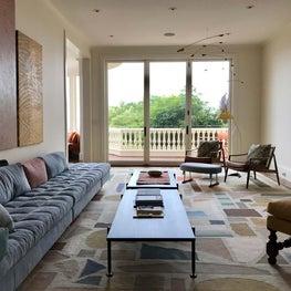 Living Room with custom terrazzo patterned flatweave rug