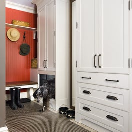 Fun mudroom with a custom integrated dog's crate.