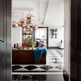 Bold Club Room with Brown & Cream Checked Marble Floors - White Plains, New York