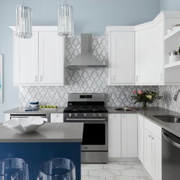 Chicago Modern Kitchen with marble tile, white and blue custom cabinets