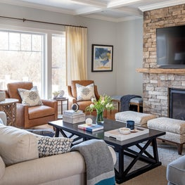 Neutral family room with modern Bohemian flair