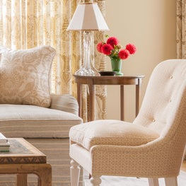 Living Room in a coastal home with custom upholstery with pine furniture