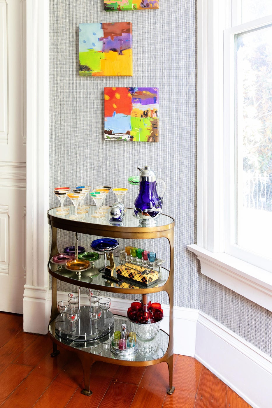 Colorful Collector's Bar Cart