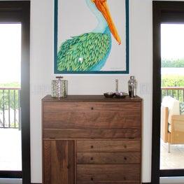 wood bar/colorful art/dark trim