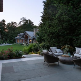 Private terrace along the side of the estate creates a private space to sit