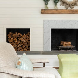 Ship lap and new mantle plus pops of color equal a fun fresh living room