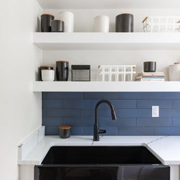 Butler's Pantry with Custom Shelves and Sink Detail
