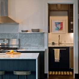Two Modern Living Flats: Kitchen looking into Butler's Pantry