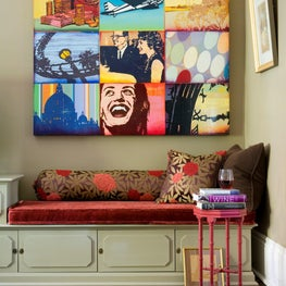 South End Townhouse, Nook with upholstered bench and contemporary art