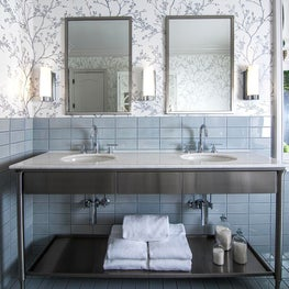 Ann Sacks, Stainless Vanity, Subway Tile, Schumacher Wallpaper, White Marble