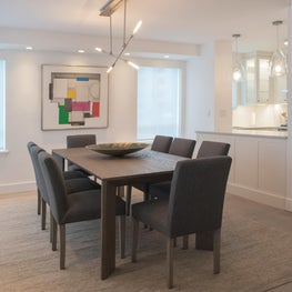 Contemporary Open Living - Soft Open Kitchen with Contrasting Dining Table