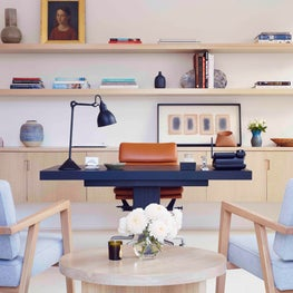 West Hollywood Residence, Home Office with Oak Floating Credenza