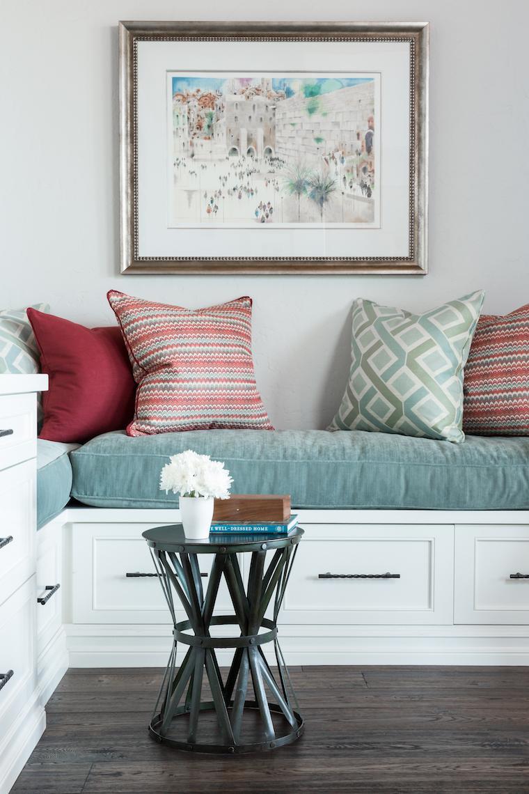 Custom built-in bench in formal living room