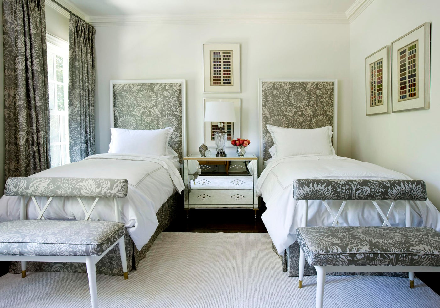 At Home guest bedroom with two twin beds