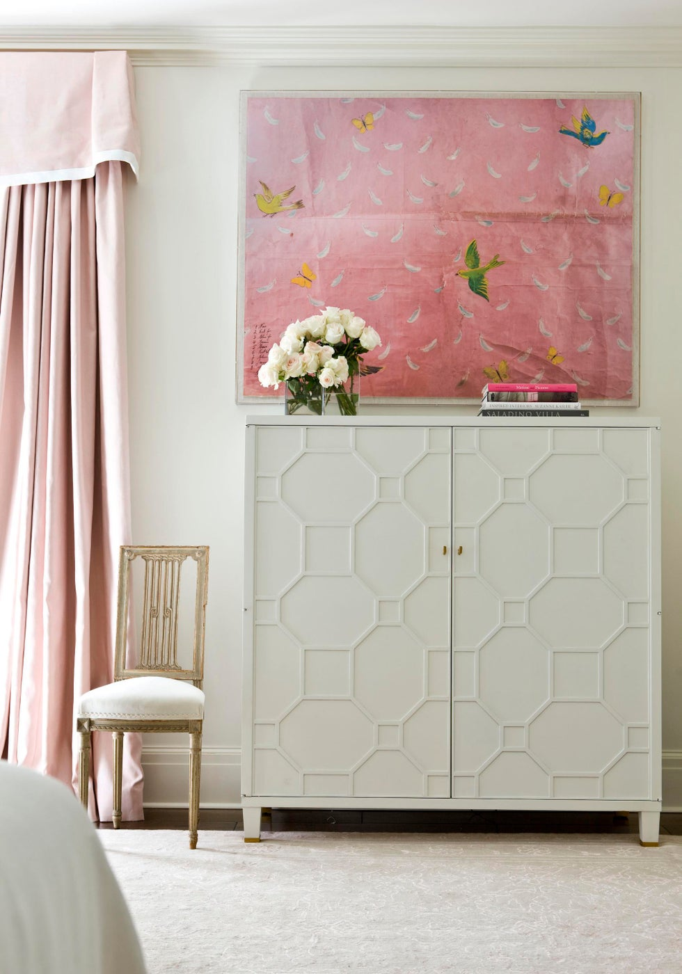At Home bedroom detail in shades of pink