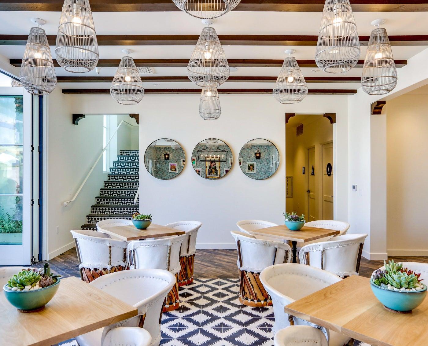 Dining area of Palm Springs La Serena Villas Azucar restaurant