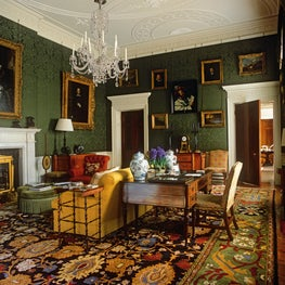Old masters such as Rembrandt and Rubens hang on the walls of this Sitting Room