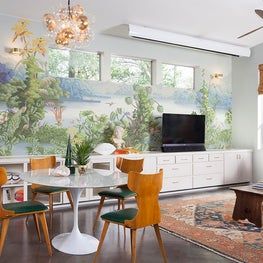 Tropical Living Room + Oriental Rug