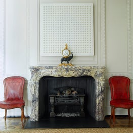Phillimore Gardens Mansion House - Custom Paneling, Antique Marble Fireplace